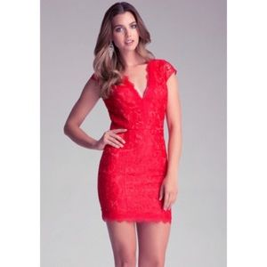 BEBE red lace mini cocktail dress